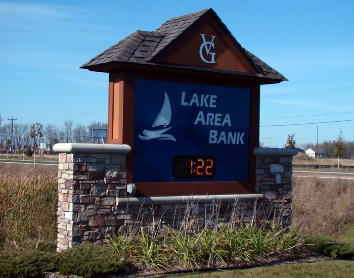 Example of a monument sign for a bank