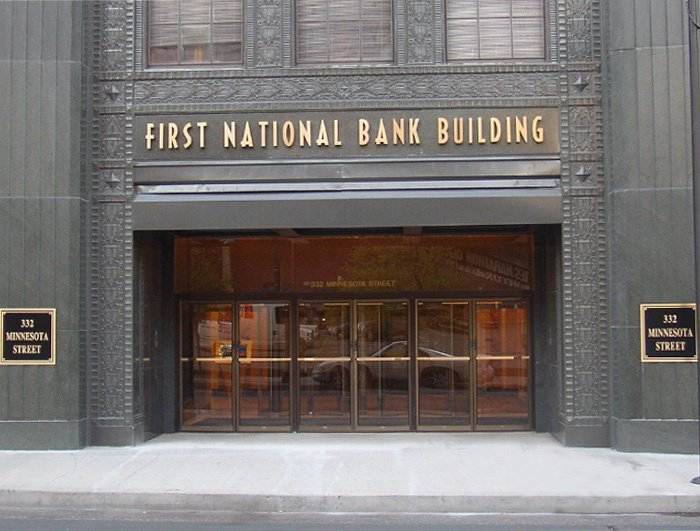 Example of on-building bank signs