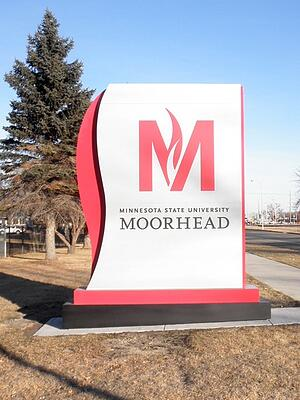 Minnesota State University monument sign manufactured by Minneapolis sign company, Spectrum Sign Systems.