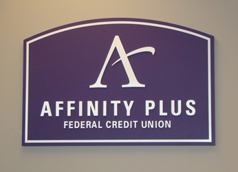 Example of an interior logo display for a bank