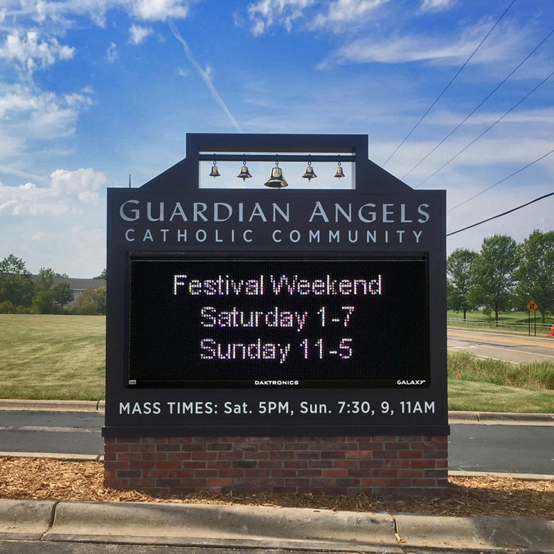 Guardian Angels Catholic Community Electronic Messaging monument Sign