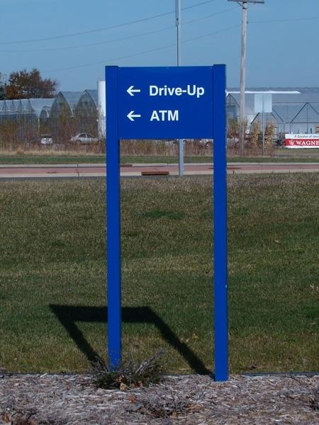 Example of custom bank wayfinding signage