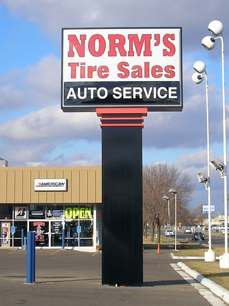 Norm's Tire Sales custom pylon sign