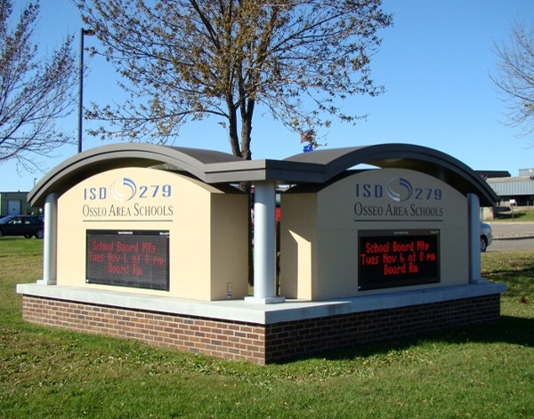 Example of monument school signs fabricated by Spectrum Signs