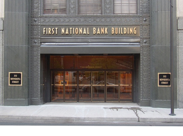 First National Bank office building sign