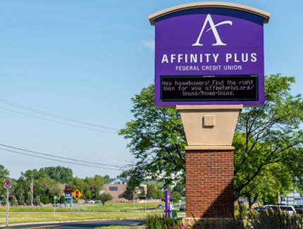 Affinity Plus custom bank monument sign