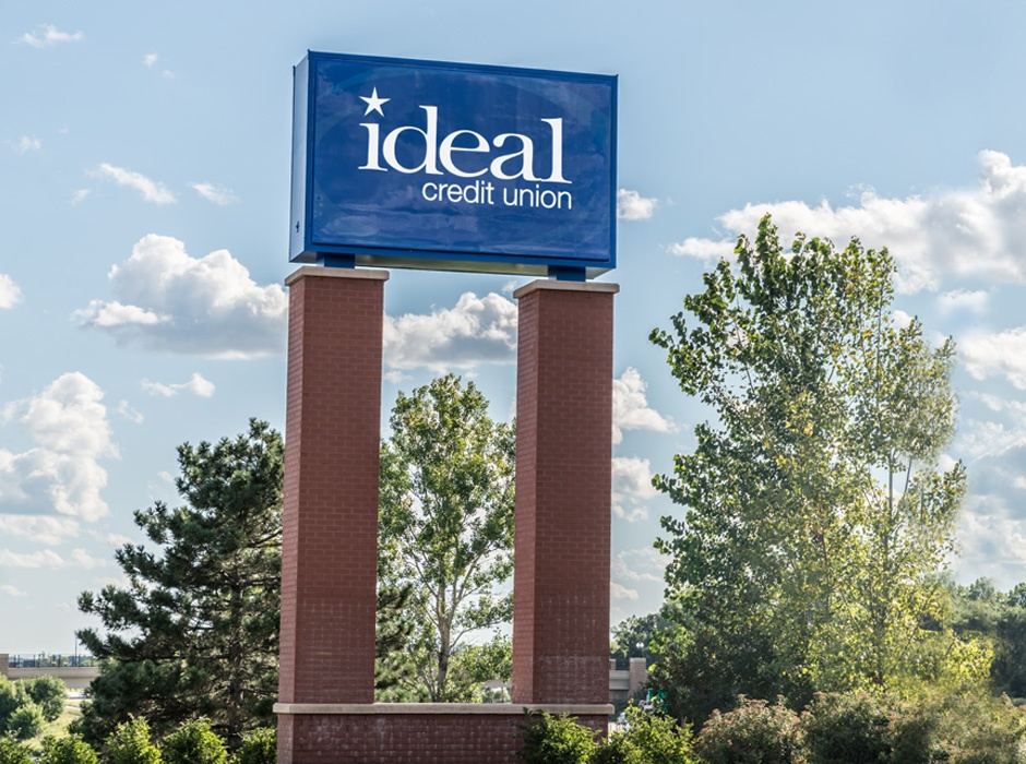 Ideal Credit Union Large Monument Sign