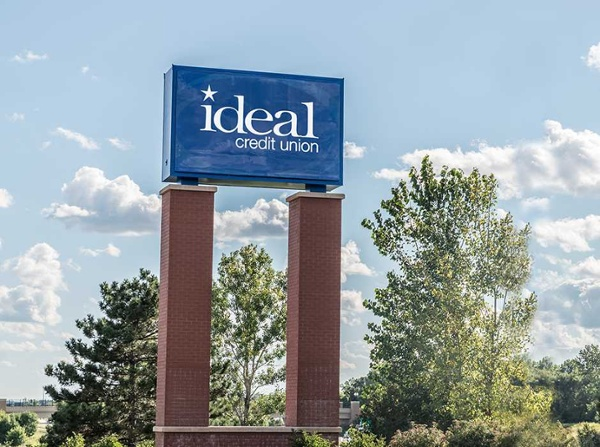 Ideal Credit Union pylon signs